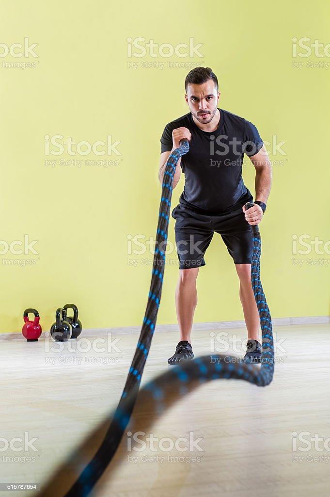 Hard gym training stock photo