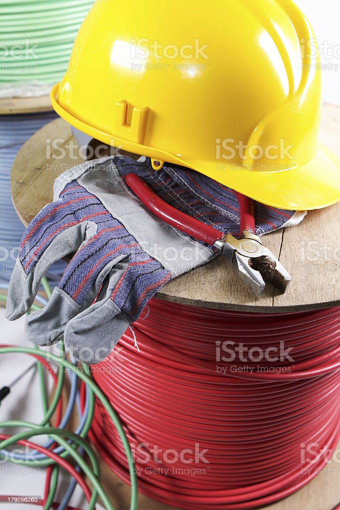 Hard hat and cables royalty-free stock photo
