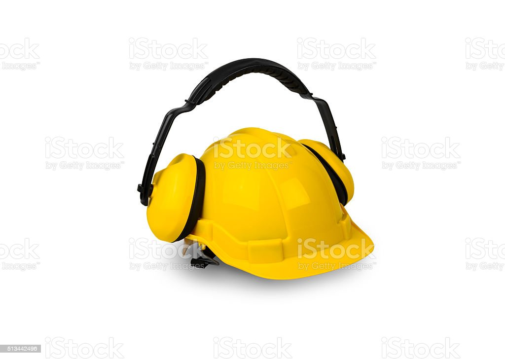 Hard hat and ear muffs isolated stock photo