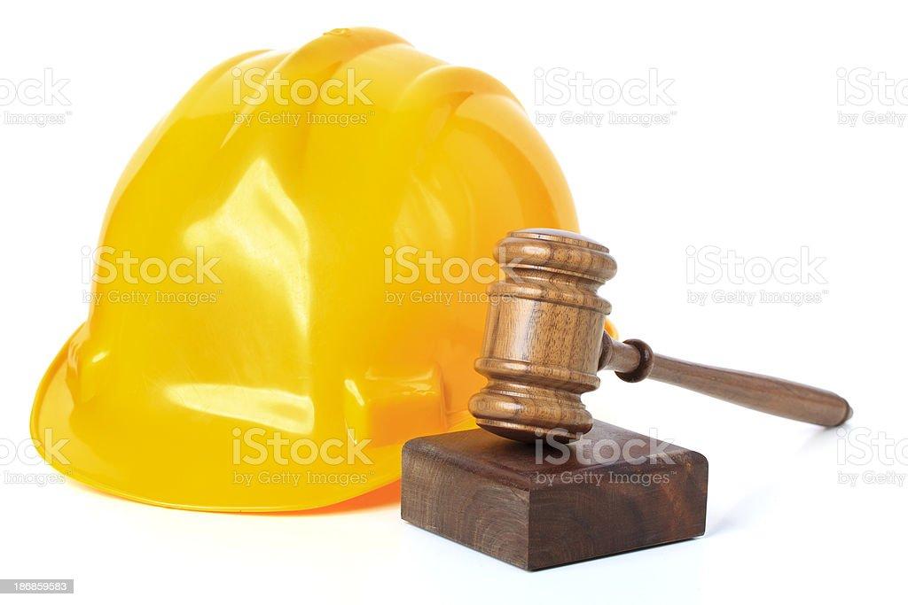 Hard Hat and Gavel stock photo