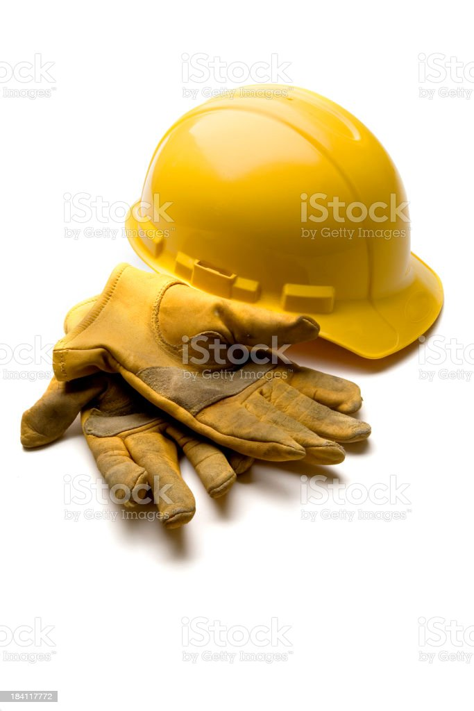 Hard Hat And Leather Gloves royalty-free stock photo