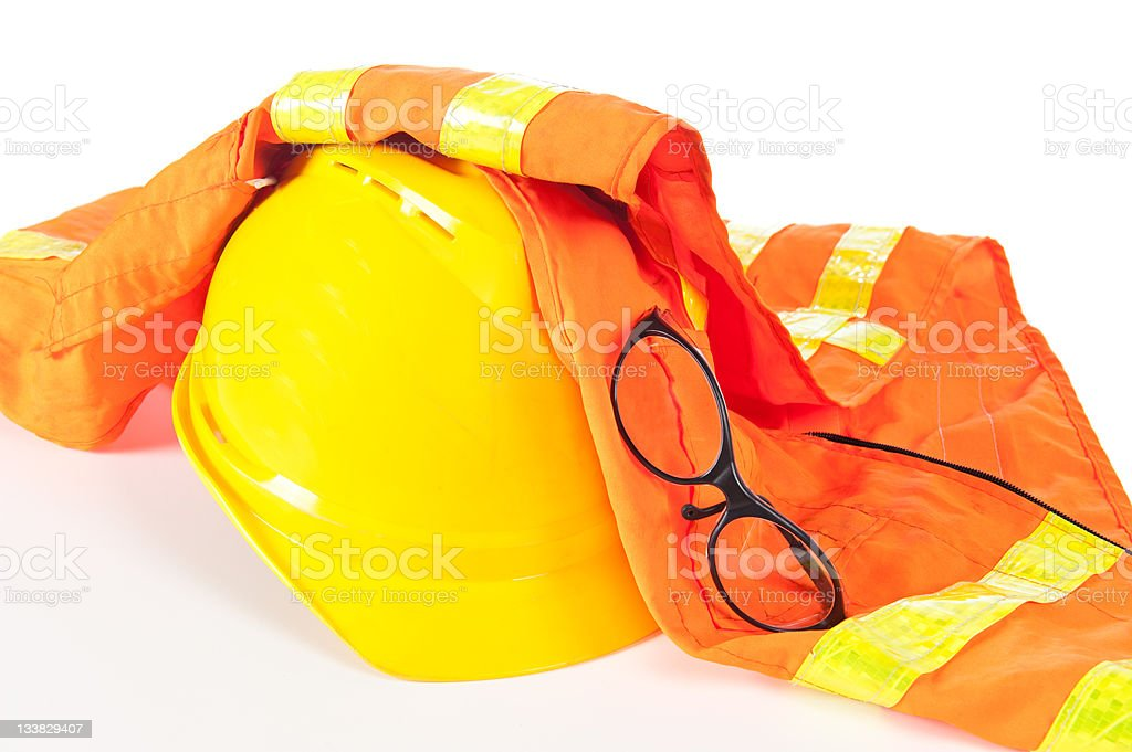 Hard hat and safety vest royalty-free stock photo