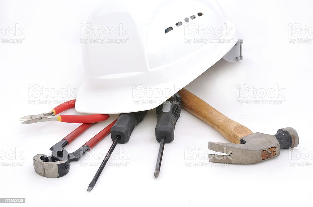 hard hat and tools royalty-free stock photo