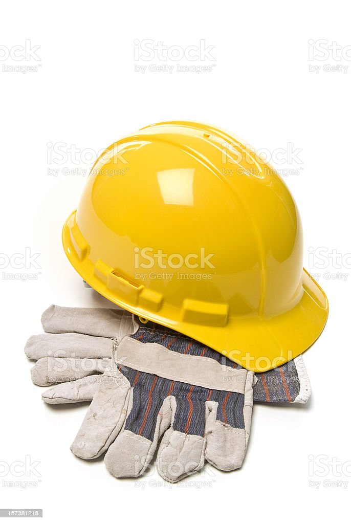 Hard Hat and Work Gloves royalty-free stock photo