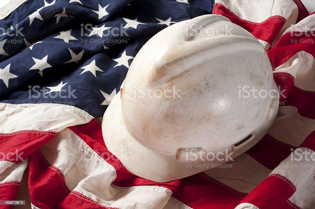 Hard Hat on US Flag stock photo