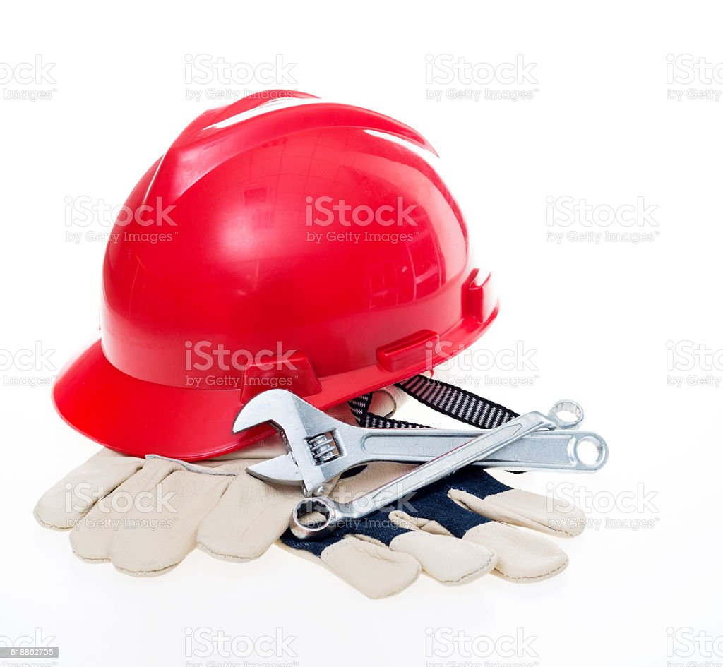 Hard hat with tools stock photo