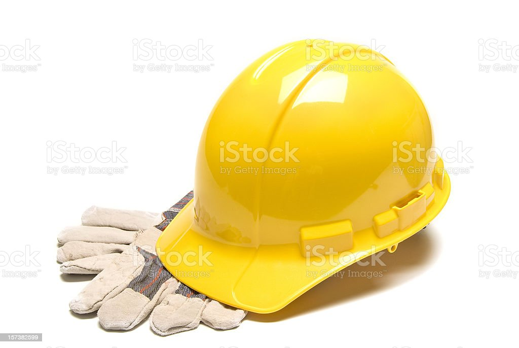 Hard Hat With Work Gloves royalty-free stock photo