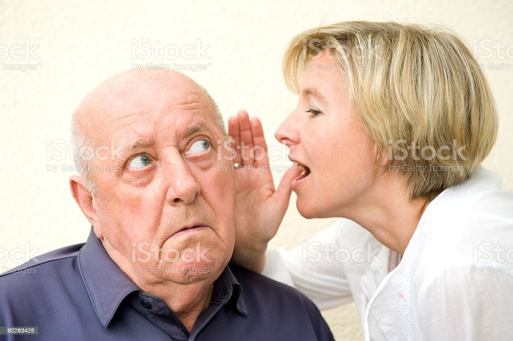 Hard of hearing man stock photo