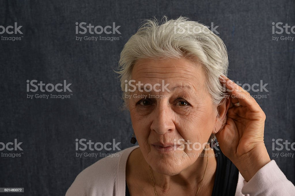 hard of hearing stock photo