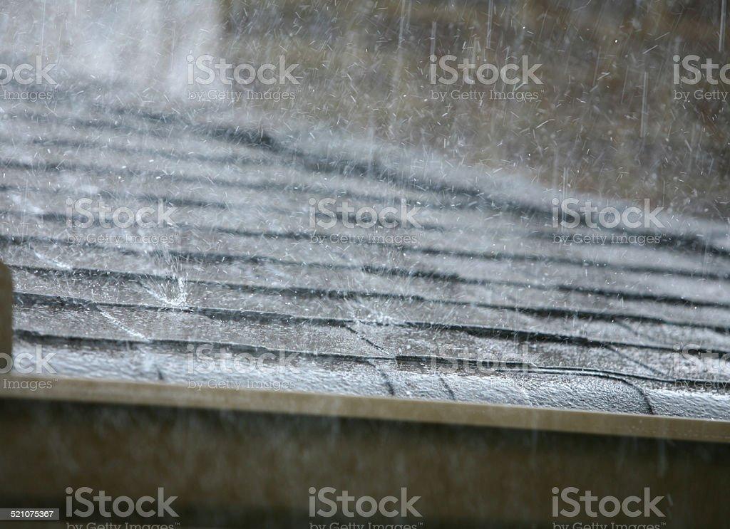 Hard Rain Falling on Roof with Rain Gutters