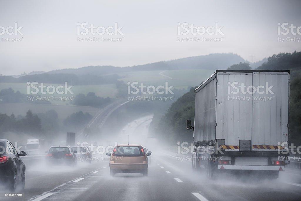 Hard rain on a german highway stock photo
