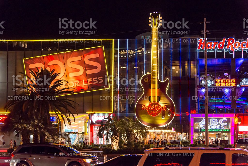 Hard Rock at Las Vegas Strip during night stock photo
