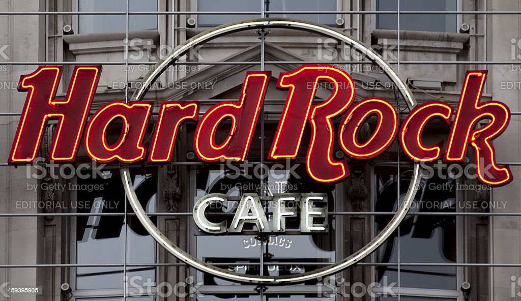 Hard Rock Cafe neon sign and logo stock photo