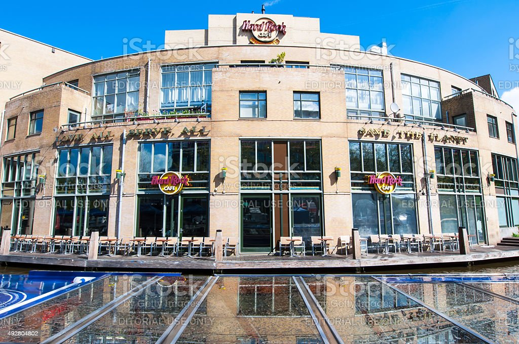 Hard Rock Cafe on the Singelgrachtkering Canal in the midday. stock photo