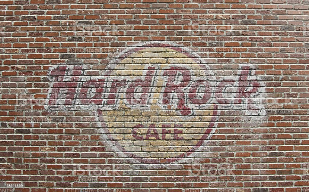 Hard Rock Cafe Seattle - brick wall sign stock photo