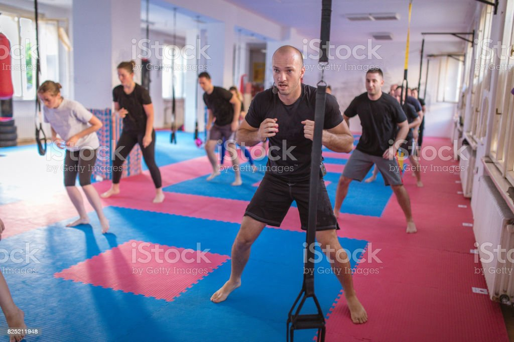 Hard style tae bo training stock photo