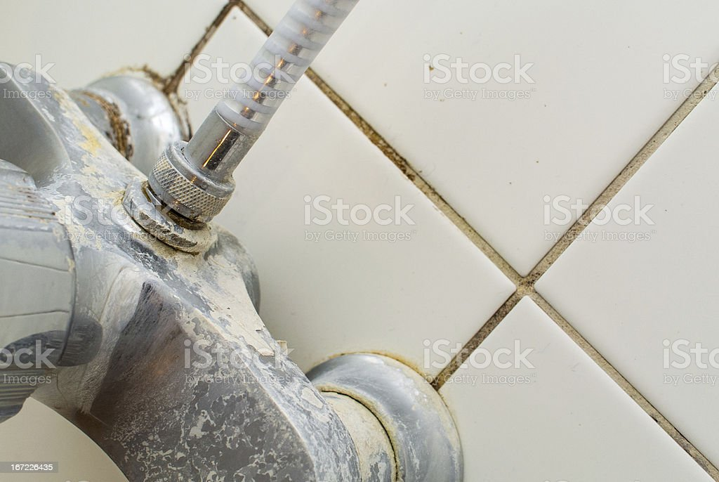 Hard water in the shower stock photo