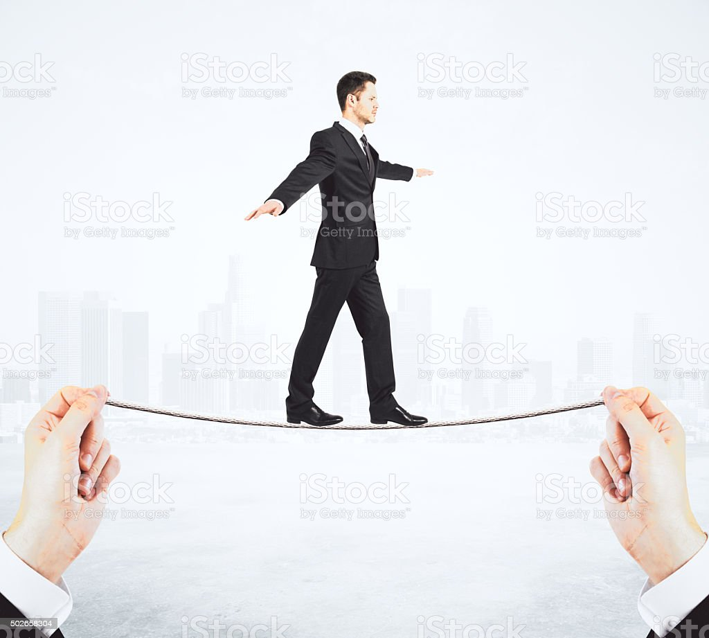 Hard way to success concept with man walking stock photo