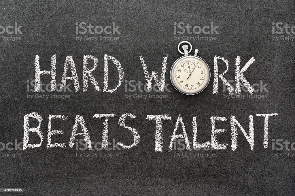 hard work beats stock photo