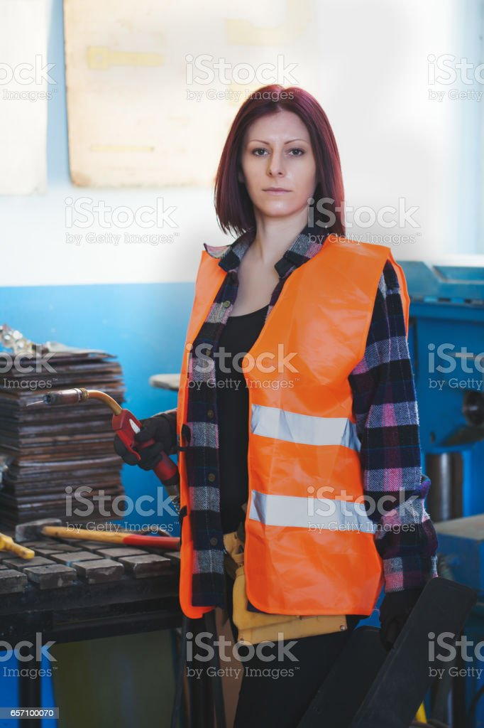 Hard work in industry-woman leader manager stock photo