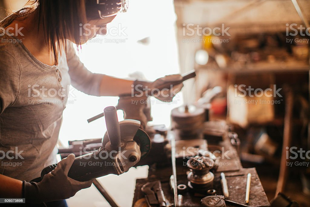 Hard work in my workshop stock photo