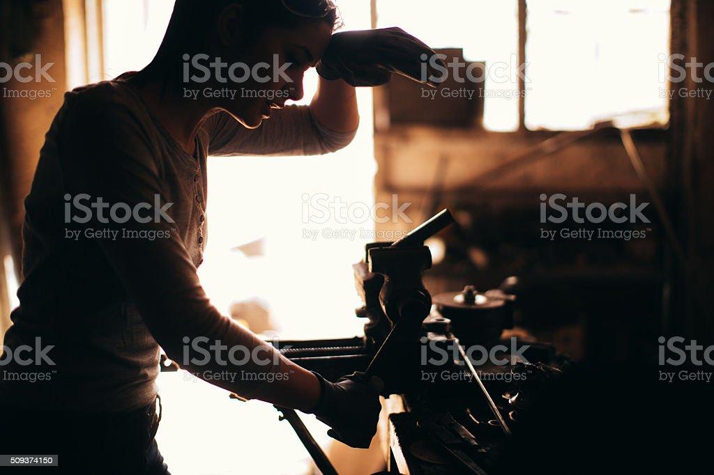 Hard work in my workshop stock photo