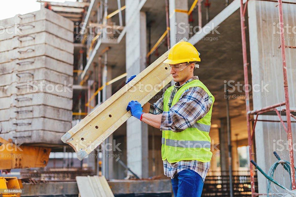 Hard work on construction site stock photo