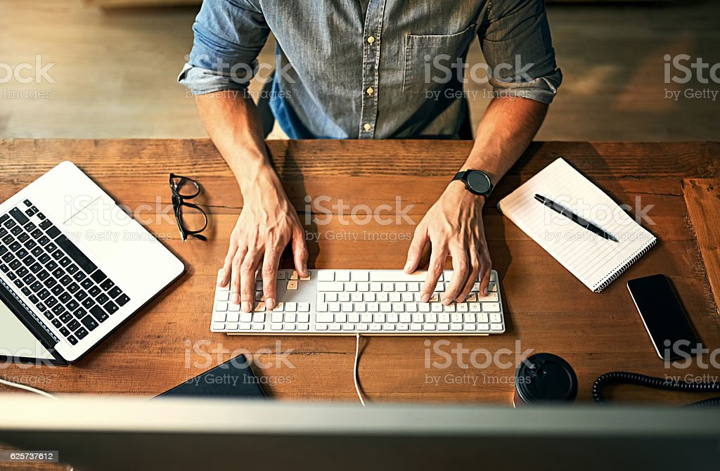 Hard working hands stock photo
