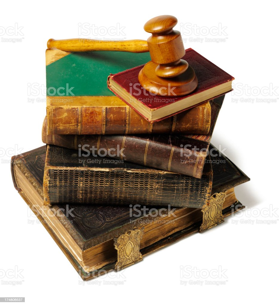 Hardback Books with a Gavel and Mallet royalty-free stock photo