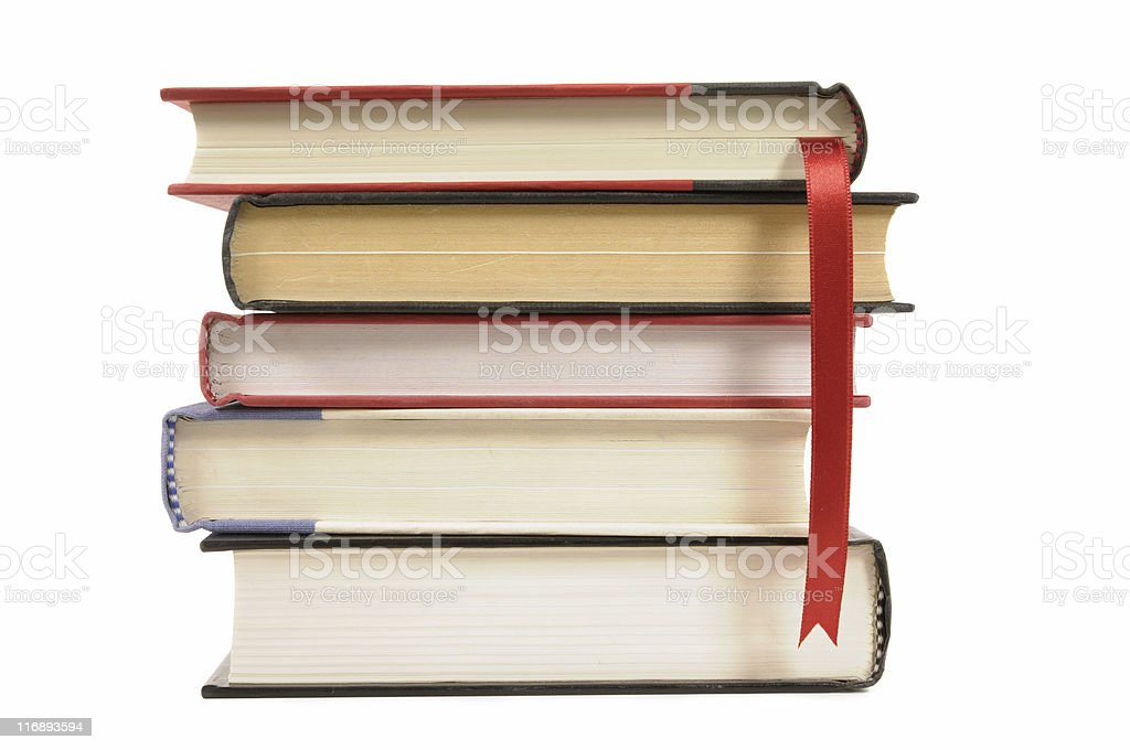 Hardback books with bookmark ribbon stock photo