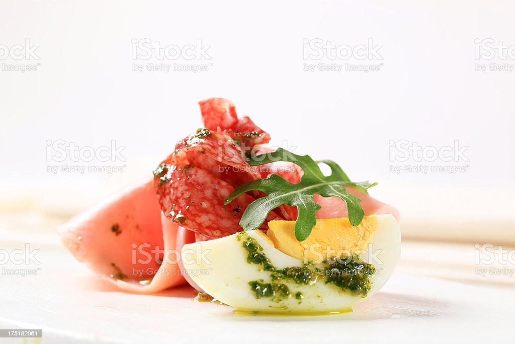Hardboiled gg with ham and pesto royalty-free stock photo