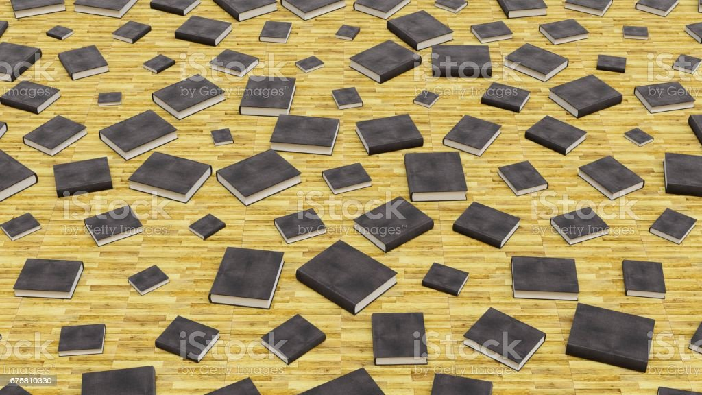 Hardcover Black Textured Hard Cover Books of Various Sizes on Wood Floorboards stock photo