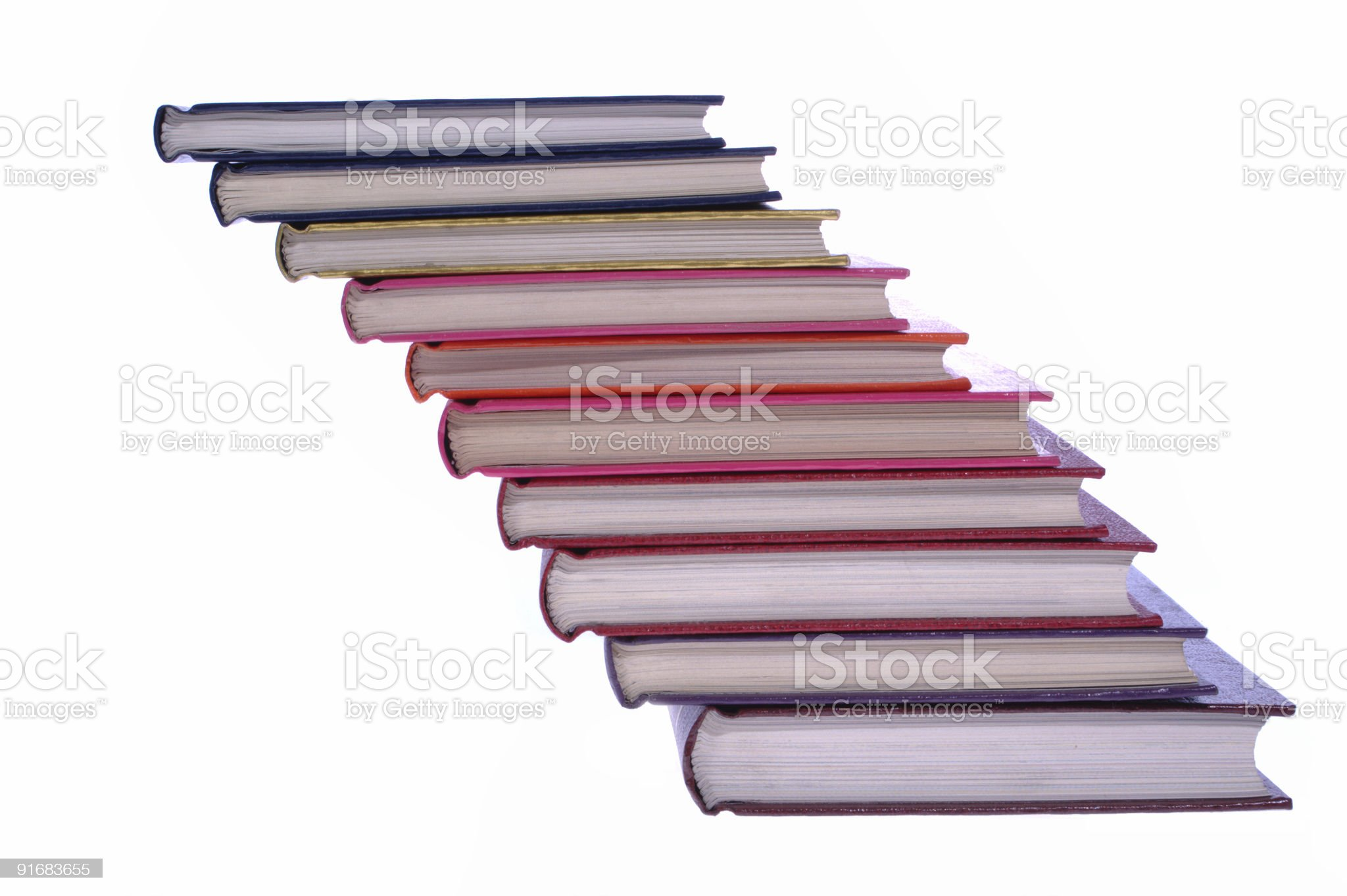 hardcover books stack isolated on white royalty-free stock photo