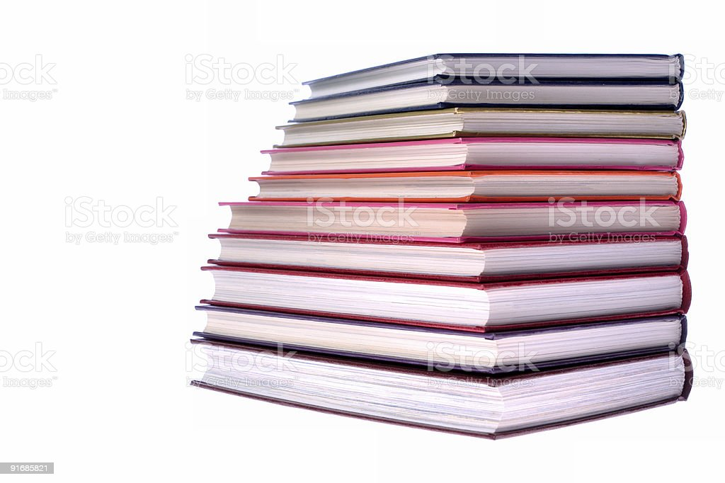 hardcover books stack on white background royalty-free stock photo
