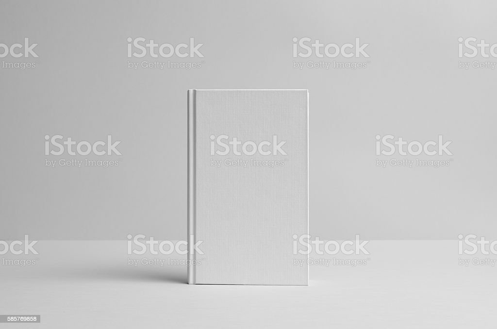 Hardcover Canvas Book Mock-Up- Front. Wall Background stock photo