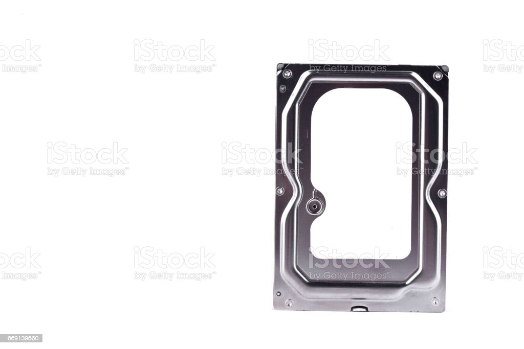 harddisk drive is the data storage for the digital data computer on white background  harddisk technology isolated stock photo