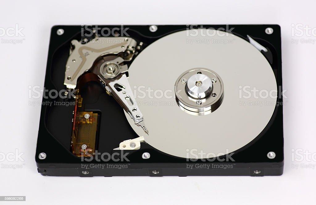 Harddisk opened isolated on white background stock photo