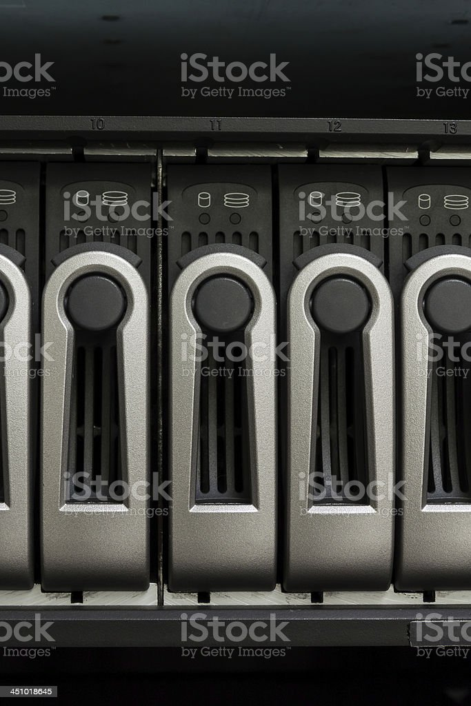 Harddisk rack and computer control stock photo