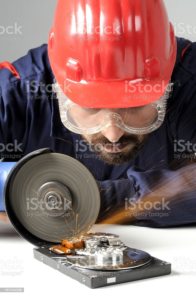 Harddrive Destruction stock photo