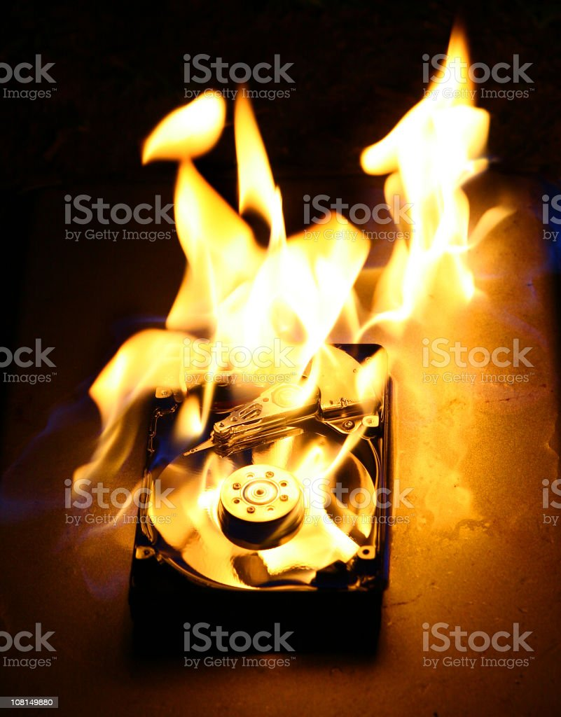 HardDrive on Fire 3 stock photo