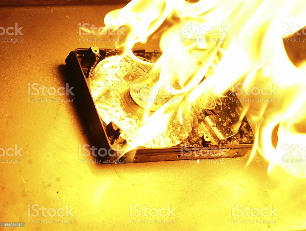 HardDrive on Fire 4 royalty-free stock photo