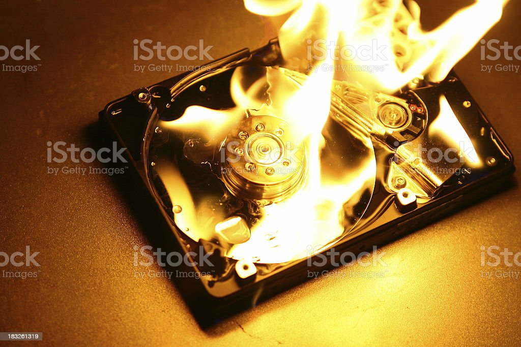 HardDrive on Fire 5 stock photo