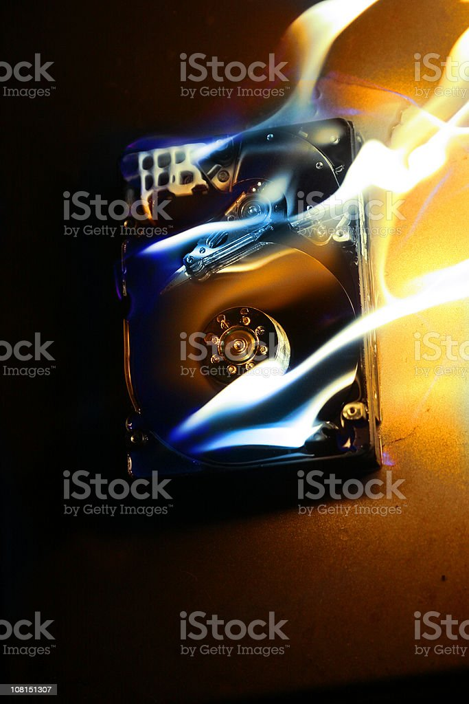 HardDrive on Fire 6 stock photo
