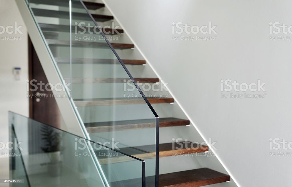 hardened glass balustrade in house stock photo
