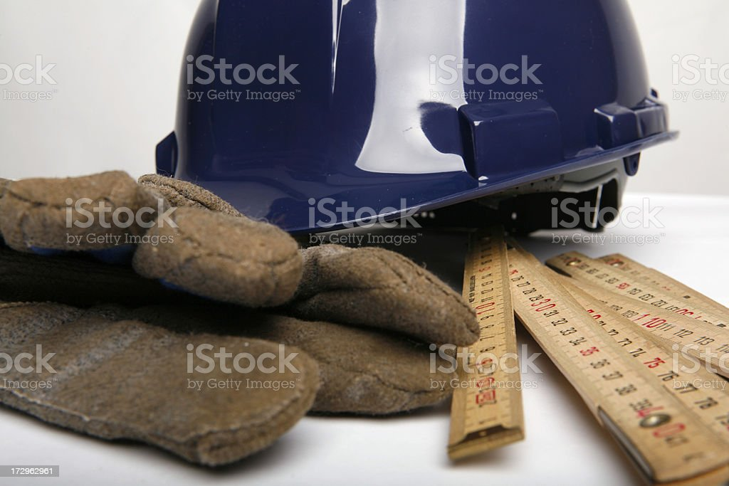 Hardhat and work gloves royalty-free stock photo