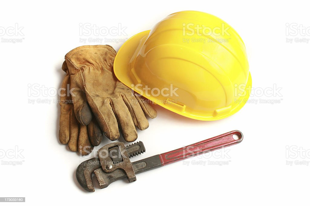 hardhat and wrench royalty-free stock photo