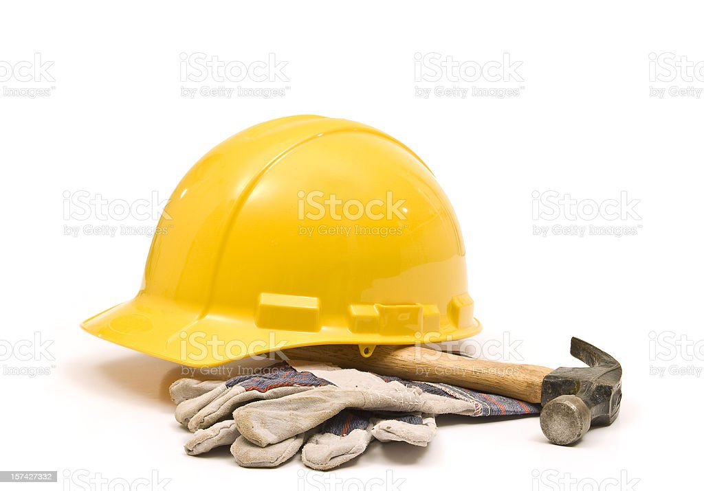 Hardhat, Hammer and Gloves royalty-free stock photo