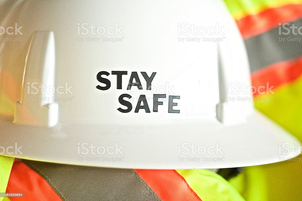 Hardhat with Safety message stock photo