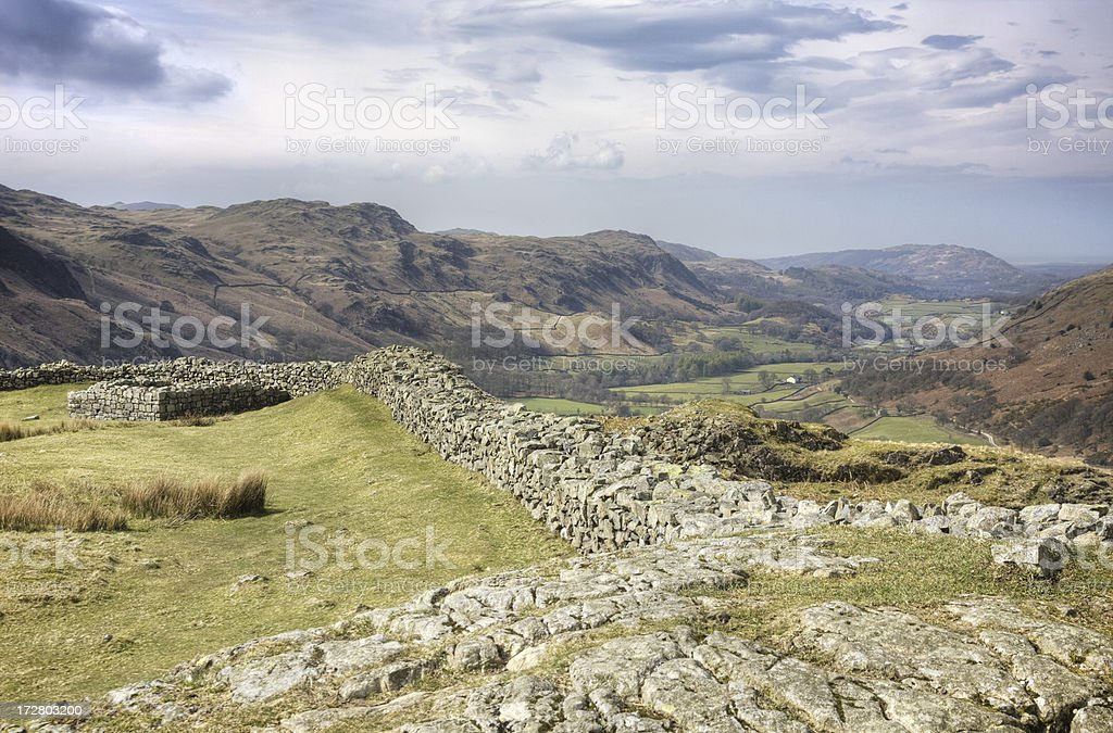 Hardknott Fort and Eskdale royalty-free stock photo