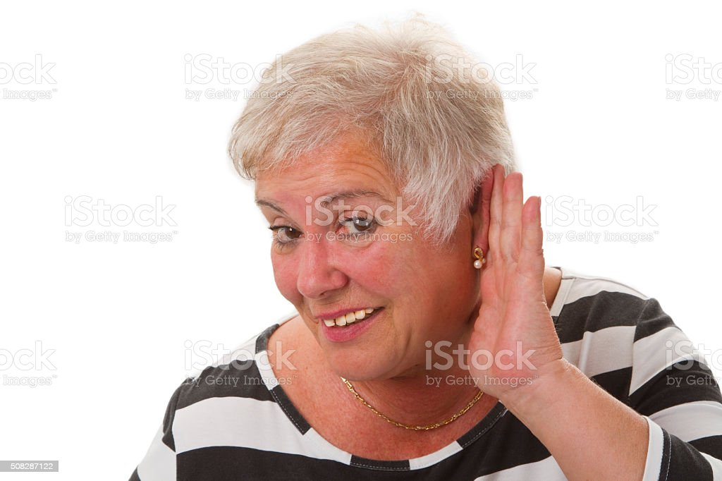 Hardness of hearing stock photo
